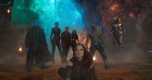 Guardians Of The Galaxy Vol. 2..L to R: Yondu (Michael Rooker), Nebula (Karen Gillan), Star-Lord/Peter Quill (Chris Pratt), Gamora (Zoe Saldana), Mantis (Pom Klementieff), Drax (Dave Bautista), Rocket (Voiced by Bradley Cooper) and Groot (Voiced by Vin Diesel)..Ph: Film Frame..©Marvel Studios 2017