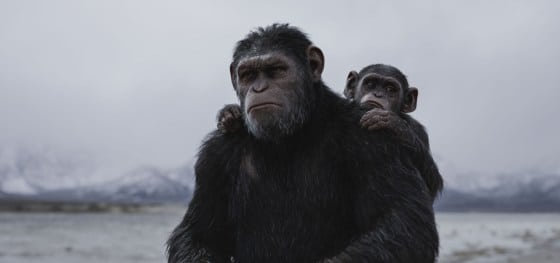 Caesar (Andy Serkis) and Cornelius (Devyn Dalton) anticipate the journey ahead in Twentieth Century Fox's WAR FOR THE PLANET OF THE APES.